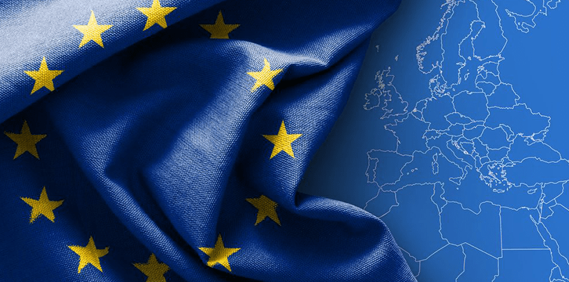 EU Flag and Map
